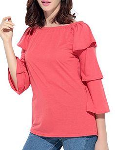 129112dc580c NQ Womens Off Shoulder Solid Color Ruffles Sleeve Tshirts Red S * Amazon  most trusted e-retailer #KoreanFashion. Korea Japan Bazaar · Korean Fashion