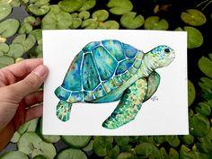 Sweet watercolor sea turtle i painted Sea Turtle Painting, Lily Painting, Painting & Drawing, Watercolor Sea, Watercolor Animals, Watercolor Paintings, Watercolours, Animal Paintings, Animal Drawings