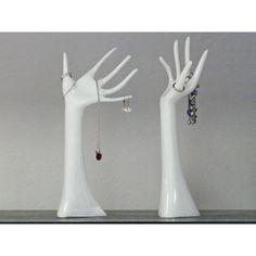 Dekorace / stojan na šperky Hands, sada 2 ks, bílá - 1