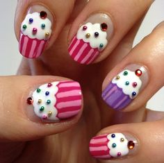 Spring nails - 3D cupcakes nail design with pink or red and purple cupcakes.