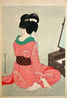 oriental vintage kimono geisha illustration