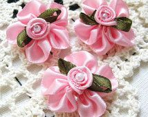 15PCS Satin ribbon flower with rose sewing appliques 25mm Pink (5-9-33)