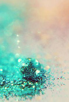 Shining Sea glitter water drop bokeh turquoise aqua dreamy ethereal pink fine art photograph 8x12.  via Etsy.