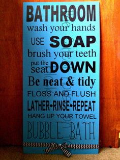 Bathroom Rules by TheCutestHouse on Etsy, $25.00