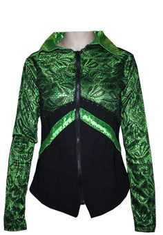 Apple green and black western show jacket with lace details - by CM Design