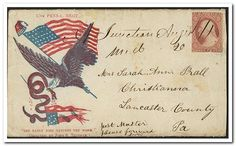 """[Civil War envelope showing an eagle carrying an American flag in its claw and a serpent in its beak with motto """"The early bird catches the worm"""" below]"""