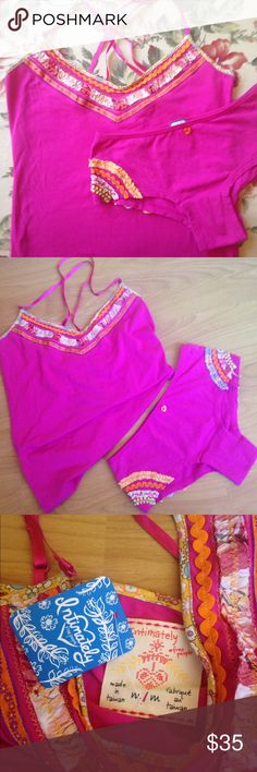 FREE PEOPLE  NWT magenta cami & panty set NWT. Free People magenta cami and panty set. Lots of ribbon details. Cami size medium. Panties size XS. Cami has a tag. There is no tag on the panties....They have never been worn. I bought both pieces at my local Free People store. I accept all reasonable offers!! Free People Intimates & Sleepwear Panties
