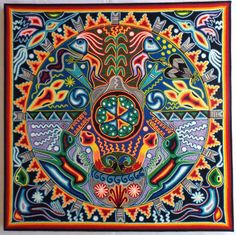 """23.5"""" Mexican Huichol Marakame Ceremony yarn painting in Collectibles, Cultures & Ethnicities, Latin American 