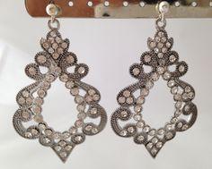 Wedding Asian bride drop down dangle earrings with crystal by JitkasHandmadeGifts on Etsy