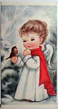 Charlot Byj Little Angel Robin Bird Vintage Christmas Card 1607 Images Vintage, Vintage Christmas Images, Old Fashioned Christmas, Christmas Past, Retro Christmas, Vintage Holiday, Christmas Pictures, Christmas Angels, Christmas Greetings