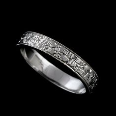 Flower Engraved Women's 14K White Gold Wedding Band $449 #orospot #fashion #jewelry #wedding #bands #ring #gold #14k