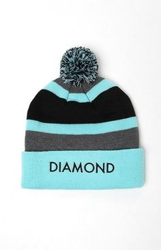 Slip on the OG Pom Beanie to keep your skater style on point this Cold weather season. This Diamond Supply Co must-have features a pom on top, thick stripes, a soft knit Construction, and a Diamond Supply Co graphic on the fold. Black and mint knit beanie. Diamond Supply Co logo on fold. Pom on top. Thick stripes. One size fits most. #youhabit #4QhnBxoE6