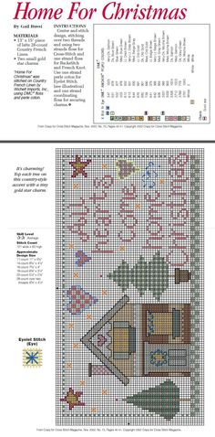Cross Stitch All Hearts Come Home For Christmas Chart and Instructions