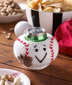 Baseball Can Cozy Free Crochet Pattern from Red Heart Yarns