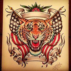 Tiger Tattoo Old School Tatto Old, Old Tattoos, Trendy Tattoos, Tattoos For Guys, Tatoos, Traditional Tattoo Old School, Traditional Tattoo Flash, Desenhos Old School, Becoming A Tattoo Artist