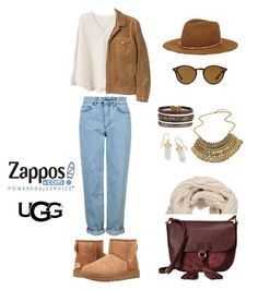 """""""The Icon Perfected: UGG Classic II Contest Entry"""" by georgia-sarantinou ❤ liked on Polyvore featuring Topshop, UGG Australia, MANGO, Frye, BillyTheTree, Ray-Ban, Silver & Co., Janessa Leone, ugg and contestentry"""