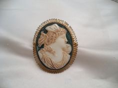 Antique Cameo Brooch  Czechoslovakia Pin by Zeppola on Etsy
