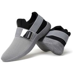 Stretch Mesh Fabric Elastic Panels Metal Decoration Sport Running... ($21) ❤ liked on Polyvore featuring men's fashion, men's shoes, men's sneakers, shoes, mens black slip on shoes, mens grey sneakers, mens breathable shoes, mens slip on shoes and mens sports shoes