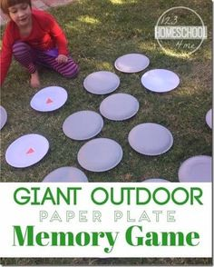 Giant Outdoor Memory Game for Kids - What a great way to practice sight words, math problems, matching and more for preschool, kindergarten and elementary age kids! Summer Activity for kids! kids summer activities Giant Outdoor Memory Game for Kids School Age Activities, Summer Camp Activities, Outdoor Activities For Kids, Outdoor Learning, Learning Activities, Fun Learning, Camping Games For Kids, Summer Activities For Preschoolers, Kid Games
