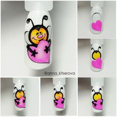 Sem noe Cartoon Nail Designs, Nail Art Designs Videos, Spring Nails, Summer Nails, Bee Nails, Drip Nails, Nail Drawing, Nail Techniques, Animal Nail Art