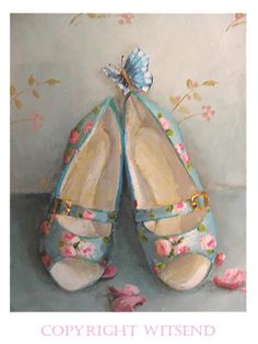 heels shoes painting roses petals and butterfly TREASURY item original ooak… Happy Feet Dance, Shabby Chic Painting, Illustration Art, Illustrations, Shoe Boots, Shoes Heels, Shoe Art, Art Shoes, Painted Shoes