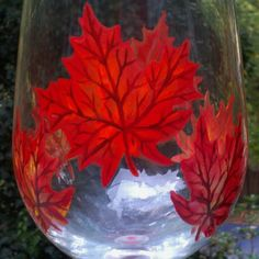 Falling leaves hand painted wine glasses by GlassesbyJoAnne, $42.00