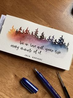 """Rainbow pines + jack kerouc quote 😍 """"Be in love with your life. Every minute of it."""" -Jack Kerouc- Nothing that gets me more ready for an adventure than watercolor forests! Learn to paint pines like this in my new Skillshare class ❤️ Watercolor Bookmarks, Watercolor Cards, Watercolour Painting, Painting & Drawing, Watercolors, Watercolor Mandala, Drawing Drawing, Drawing Ideas, Creative Bookmarks"""