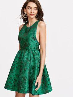 Green Zipper Back Jacquard Skater Dress