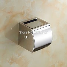 Wholesale And Promotions Retail Bathroom Chrome Finish Stainless Steel Wall Mounted Toilet Paper Roll Holder Tissue Box #Affiliate