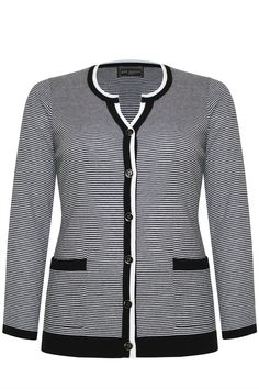 Stripe Tipped Cardi  - On point in this season's monochrome stripe. Black edged cuffs with a black & white collar and front fastening edging. On sale at Ann Harvey now reduced from £45 to £22    #plussize #plussizeuk #UK