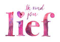 Liefdeskaart met mooie waterverf letters, verkrijgbaar bij #kaartje2go voor € 1,89