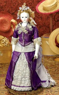 Bisque Poupee —   13'' Lady Doll   with Gorgeous Purple Silk Costume and Rare Bisque Arms,  c.1865     (495x800)