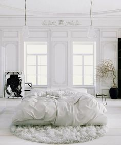 White Bedroom Interior Design Ideas & Pictures Parisian Apartment soft white bedroom with black accents and potted tree rugParisian Apartment soft white bedroom with black accents and potted tree rug All White Bedroom, White Bedroom Design, White Rooms, Dream Bedroom, Home Bedroom, White Walls, Bedroom Decor, Bedroom Ideas, Bedroom Designs