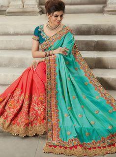 Turquoise Silk Half N Half Saree 101394