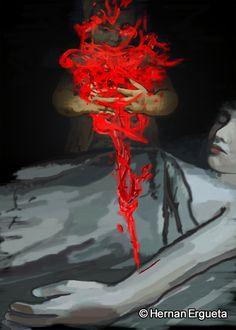 """Ilustracion del cuento titulado """"No es nada"""" (Do Not Worry) del libro: El Santuario que Arde"""" de Hernán Ergueta"""