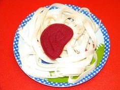 Spaghetti Pasta Italian Dinner Noodles with Sauce Felt Food. $7.00, via Etsy.