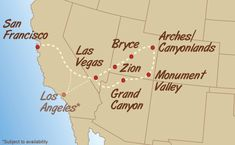 Canyons of the West Adventure Map - #adventuretravel #bustrip #budgettravel