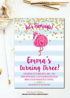 61 best birthday invitations images on pinterest in 2018 party blue stripe confetti flamingo birthday invitation lets flamingle birthday invite flamingo party flamingo filmwisefo