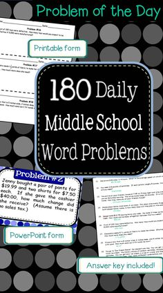 Start a problem of the day program in your class!  180 middle school word problems in powerpoint and printable form.  $12