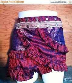 ON SALE M-L, Carmina Burana, Silk Sari Ruffle Skirt