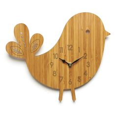One more adorable clock. -- Bird Wall Clock - Modern Clock - Childrens Clock - laser cut by Owl Otter Modern Clock, Wooden Bird, Wood Clocks, Telling Time, Room Accessories, Scroll Saw, Beautiful Gifts, Laser, Room Themes
