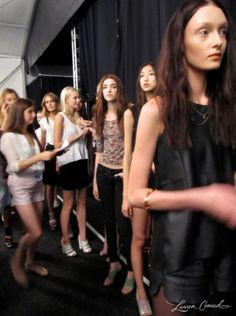 Models before a run-through at Rebecca Minkoff #nyfw