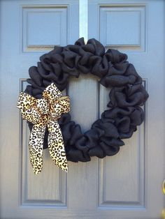 Black Burlap Wreath With Leopard Print Bow... LOVE!