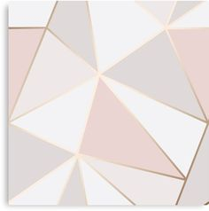 'Geometric pink gold' Canvas Print by Elyse-blais Millions of unique designs by independent artists. Find your thing. Gold Painted Walls, Gold Walls, Rose Gold Wall Paint, Rose Gold Painting, Toile D'or, Geometric Wall Paint, Geometric Triangle Wallpaper, Bedroom Wall Designs, Paint Designs For Walls
