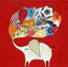Mati's elephants are so full of happiness. We have one in our living room. :: Red Lucky Elephant by MatiRoseStudio