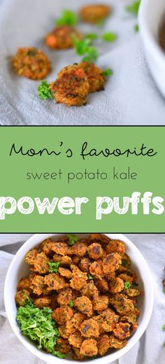 The Best Snack Ever: Sweet Potato Kale Power Puffs - Running for Rubies Baby Snacks, Healthy Toddler Snacks, Toddler Food, Healthy Kids, Baby Food Recipes, Vegan Recipes, Cooking Recipes, Toddler Recipes, Detox Recipes