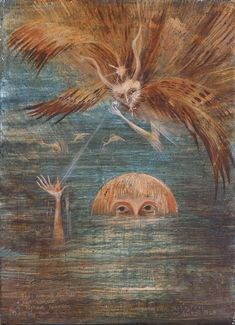 1960 FIGURE IN WATER, Leonora Carrington English-born Mexican artist, surrealist painter, and novelist) Art Visionnaire, Magic Realism, Mexican Artists, Inspiration Art, Art Moderne, Visionary Art, Outsider Art, Max Ernst, Surreal Art