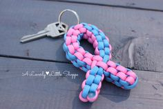 Pink and Blue Awareness Ribbon Paracord Keychain - Infertility - Infant Loss - Miscarriage - Premature Birth - SIDS - Support Ribbon