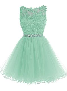 Tideclothes Short Beaded Prom Dress Tulle Applique Homecoming Dress Mint US18Plus