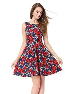 New Alisapan Women's Sleeveless Short Printed Casual Fit and Flare Dress 05488 online. Find the  great Missufe Dresses from top store. Sku jblq80151yrdp88713